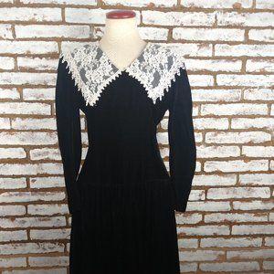Scott McClintock Vintage Black Velvet w Lace Sz S